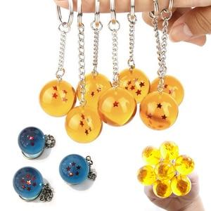 Anime Goku Dragon Ball Super Keychain 3D 1-7 Stars Cosplay Crystal Ball Key Chain Collection Toy Gift Key Ring