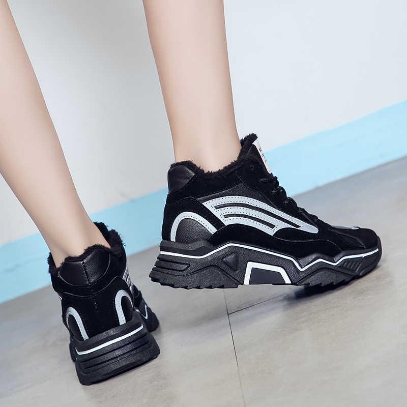 Yeni kadın kış ayakkabı peluş sıcak kürk botları spor ayakkabı platformu Vulcanized Lace Up rahat ayakkabılar kış kadın ayakkabı