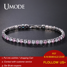 UMODE Pink Crystal Tennis Bracelets for Women Femme Wedding Zirconia Luxury Jewelry Accessories Girls Gifts UB0097G