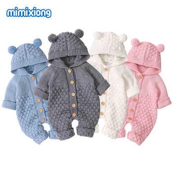 Śpioszki dla niemowląt ubrania dzieci Cartoon niedźwiedź dzianiny Newborn Baby chłopcy kombinezony jesień z długim rękawem maluch dziewczyna sweter dzieci ogólnie zima - DISCOUNT ITEM  36 OFF All Category