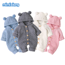 Baby Rompers Knitted Cartoon Bear Newborn Boy Jumpsuits Autum Long Sleeve Toddler Girl Sweaters Clothes Children Overalls Winter