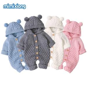 Image 1 - Śpioszki dla niemowląt z dzianiny kreskówka niedźwiedź noworodka chłopiec kombinezony Autum z długim rękawem maluch dziewczyna swetry ubrania dla dzieci kombinezony zimowe