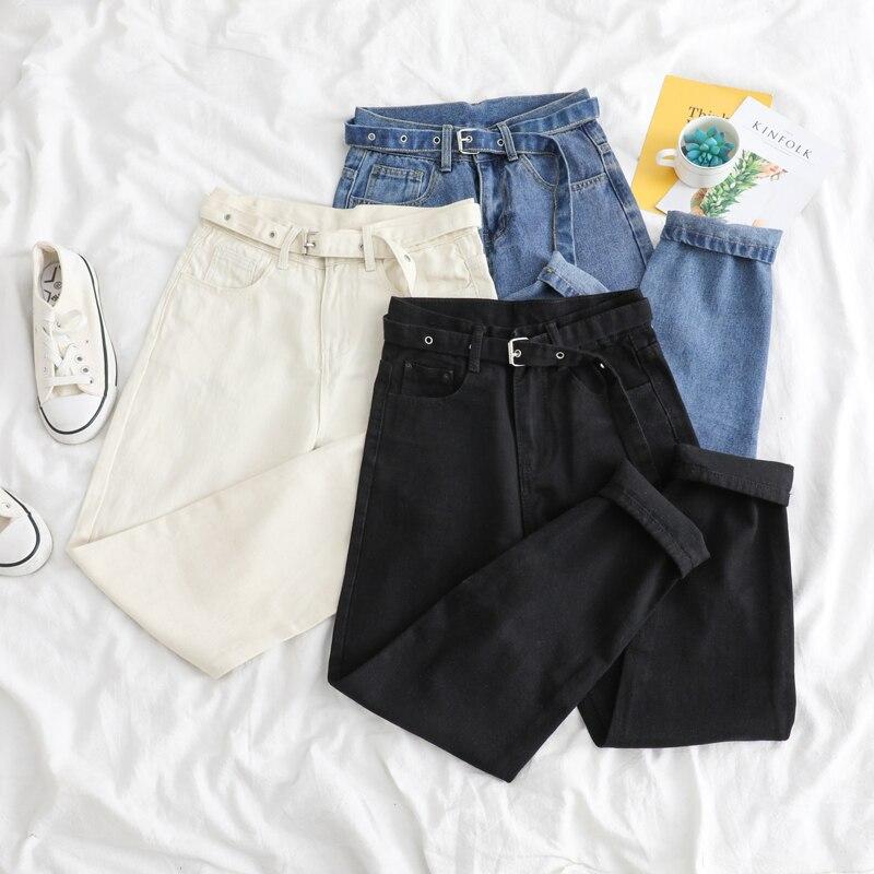 Korean Straight Jeans Women High Waist Boyfriend Trousers Large Pocket Black Denim Pants Vintage With Belt Casual Plus Size W298