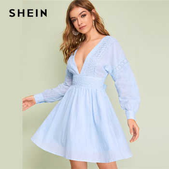 SHEIN Lady Sexy Guipure Lace Dot Jacquard Knot Backless Deep V Neck Mini Dress Women Spring Boho Fit and Flare Midi Dress