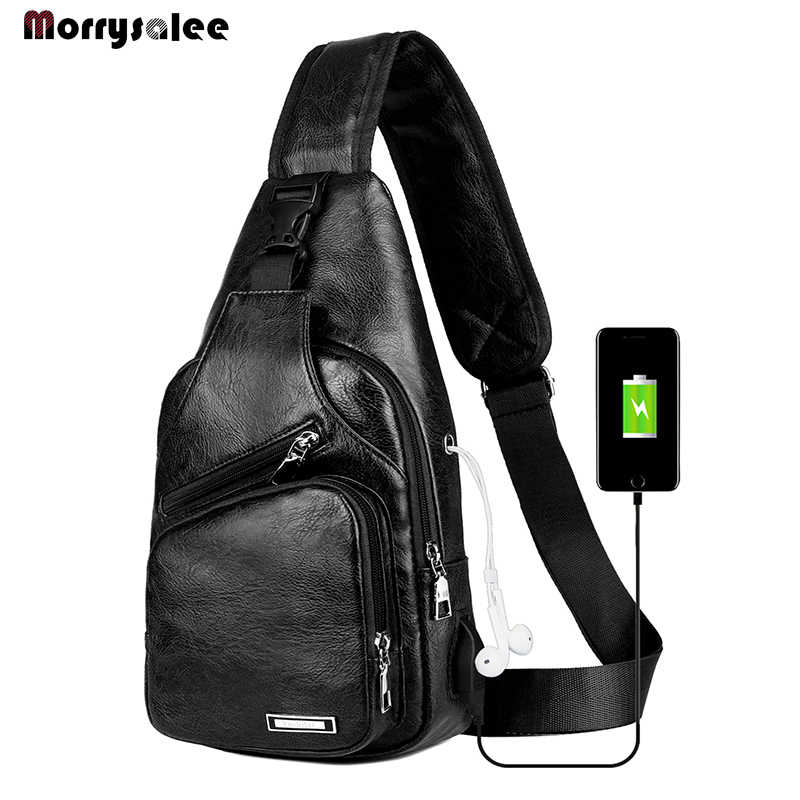 USB Charging Crossbody Bags Men Leather Chest Bag School Summer Short Trip Messengers Bag