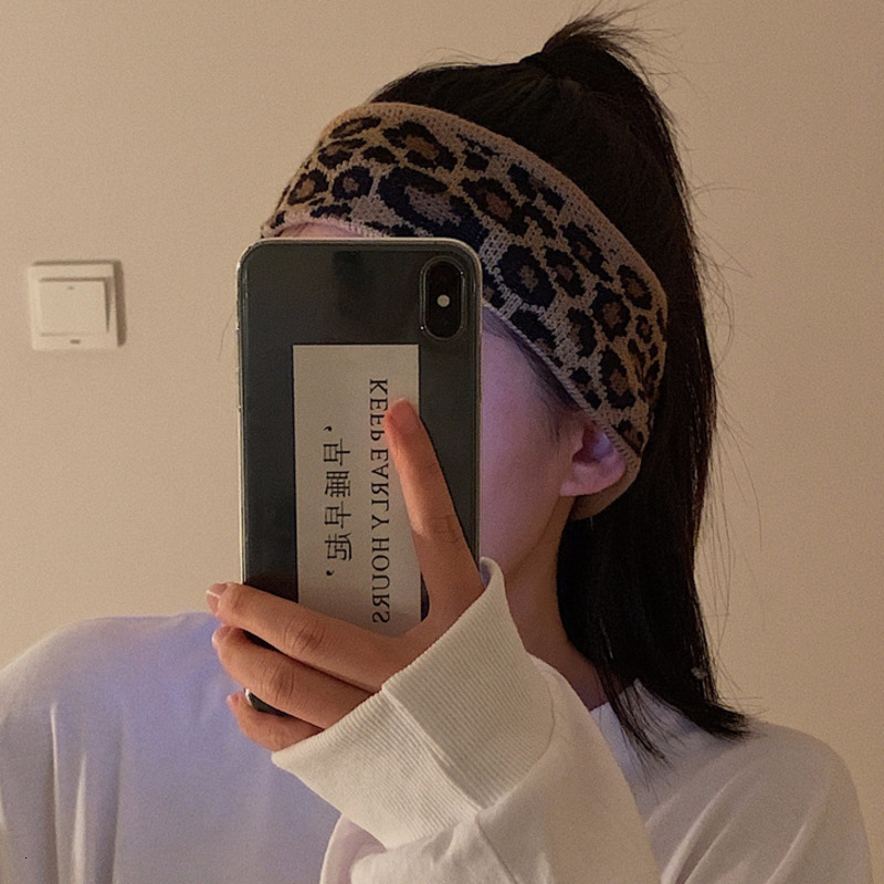 2020 Kpop Chic Aesthetic Egirl Retro Vintage Hipster Personality Single Product Leopard Knit Hair Band Headband Hair Accessories