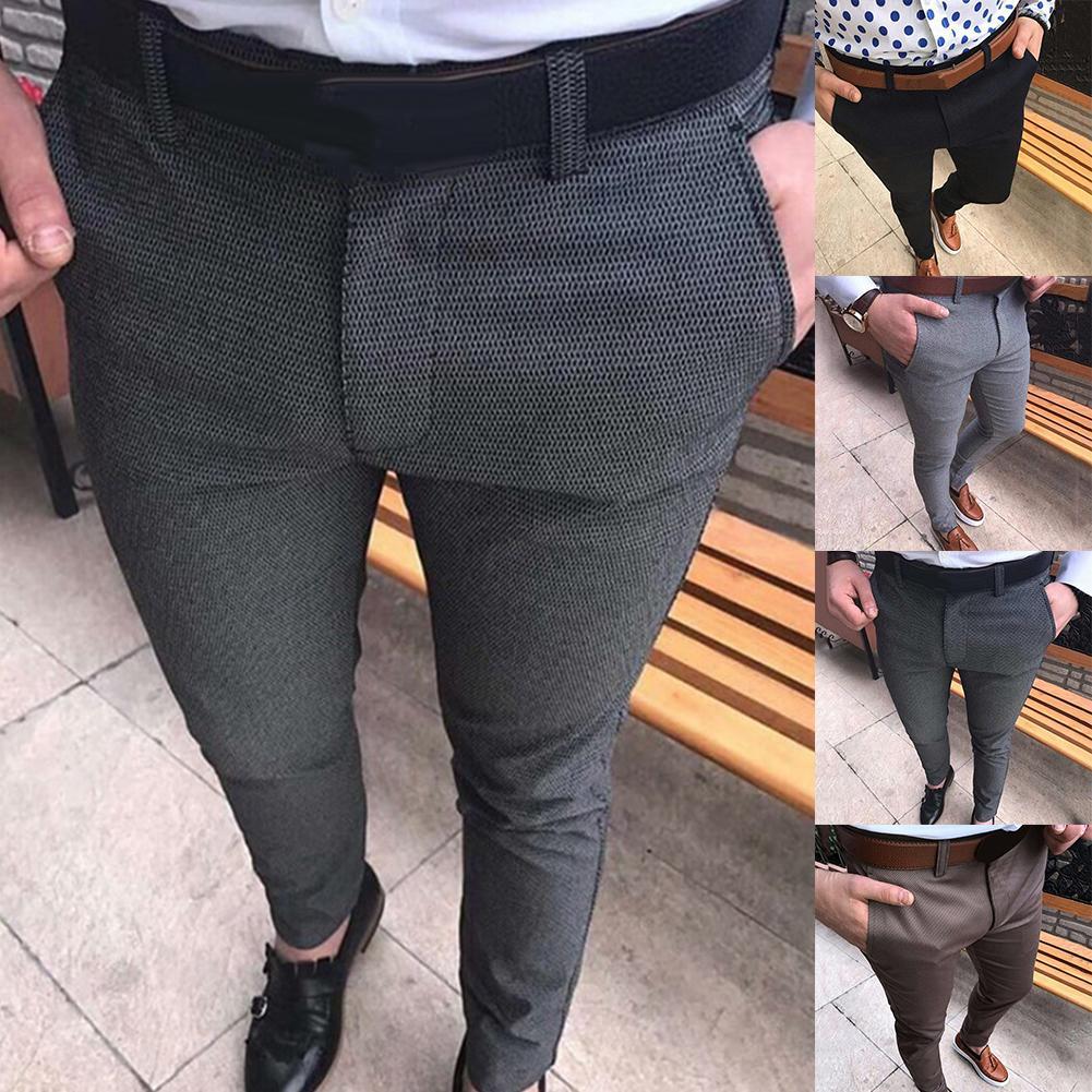 Мужские однотонные эластичные брюки-карандаш из хлопка со средней талией и карманами, длинные брюки