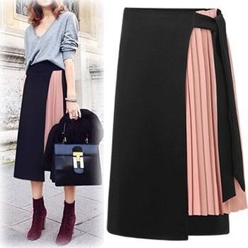 Summer 2020 Women Chiffon Pleated Skirt Stitching High Waist Skirt Business Office Side Split Skirt box pleated chiffon skirt