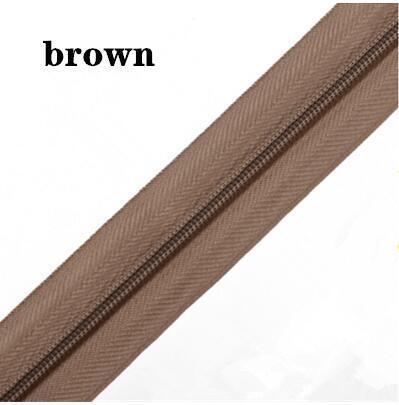 5 м длинная молния нейлон 3# пододеяльник подушка одеяло невидимая молния двойная молния черный и белый - Цвет: BROWN