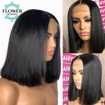 Short Bob Fake Scalp Wig Straight 13x6 Lace Front Human Hair Wigs for Women Preplucked Remy Brazilian 130% 150% FlowerSeason