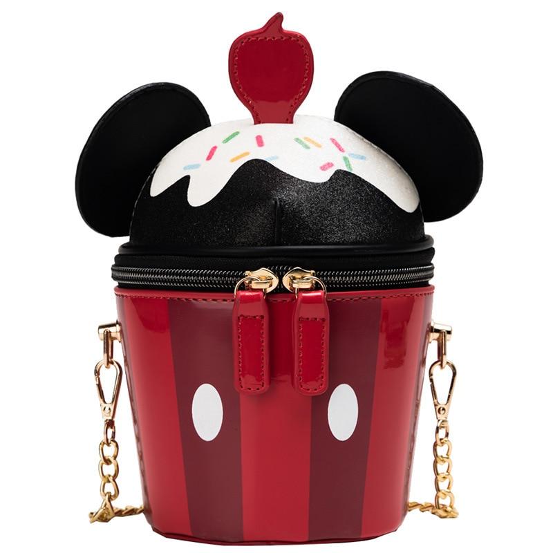 Disney Lady Messenger Bag Minnie Shoulder Bag Women Cartoon Handbag Mobile Phone Bag Bucket Creation Shopping Bag
