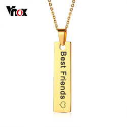 Vnox Gold Tone Bar Necklace Pendant Gifts for Her Free Engraving Personalized Name Date Love Words Necklaces