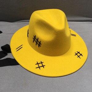 Image 2 - Sombrero de fieltro de lana para hombre y mujer, sombrero de fieltro de lana amarilla, de ala ancha, informal, negro, con cordones, para Otoño e Invierno