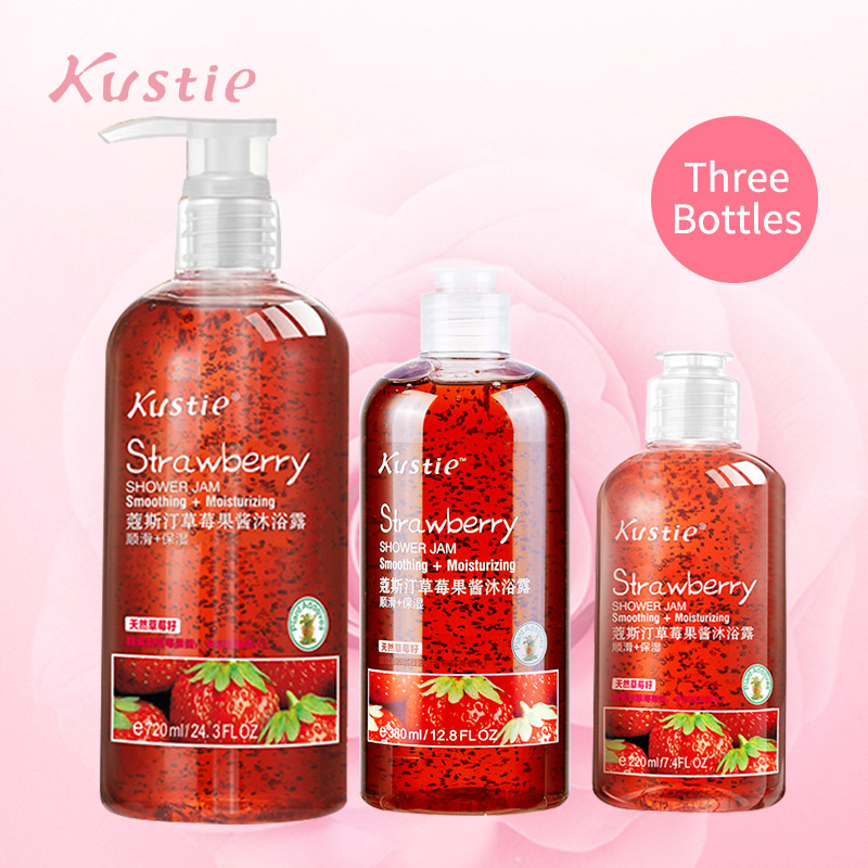 Kustie Strawberry Jam Body Wash Refine Dry And Rough Skin Smooth Lasting Fruit Fragrance Delicious Shower Combination Shower Gel