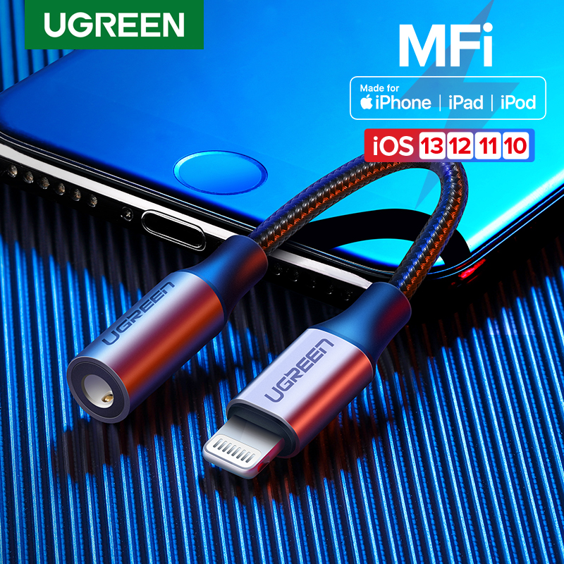 Ugreen MFi Lightning To 3.5mm Jack AUX Cable For IPhone 11 Pro X XS XR 8 7 3.5mm Lightning 3.5 Headphones Audio Adapter Splitter