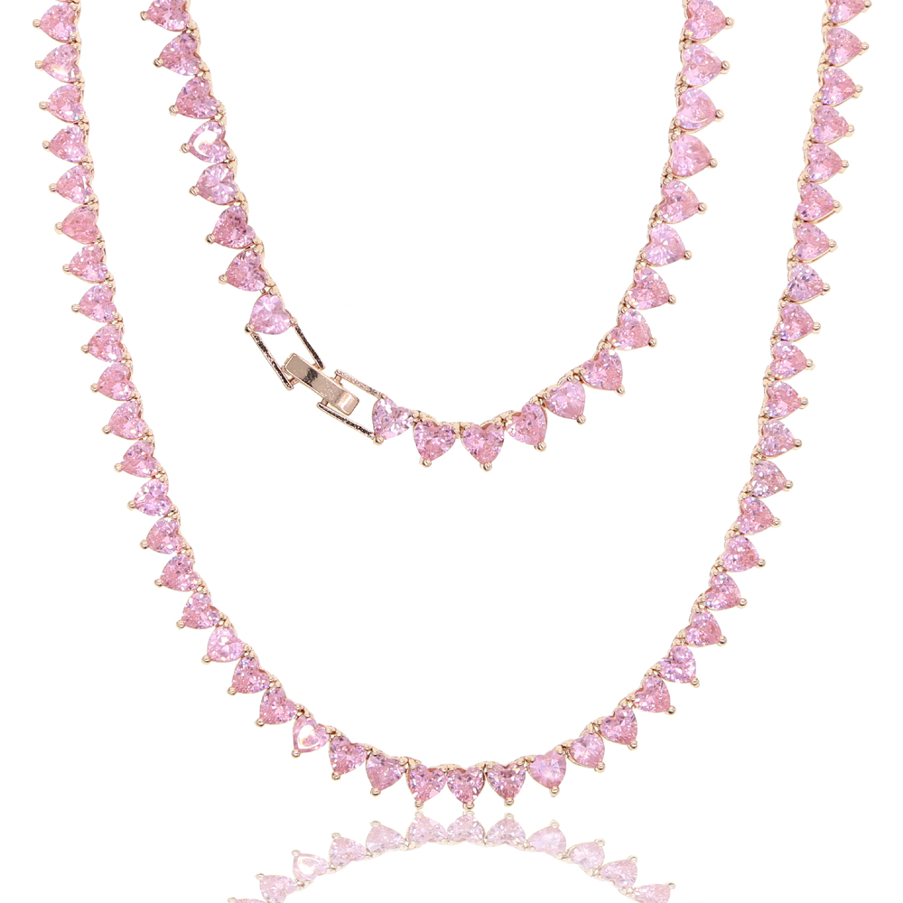 5A herz cz tennis halskette weiß rosa zirkonia iced out bling rosa mädchen frauen schmuck halsband