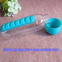 2 in 1 pill box water bottle 500ml drinking bottles portable kettle multifunctional cup detachable removeable 5 colors