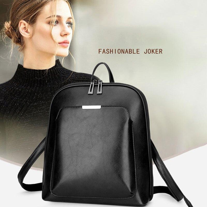Mochilas de moda de cuero para mujer mochila negra mochila de gran capacidad para mujer mochila antirrobo para ordenador portátil