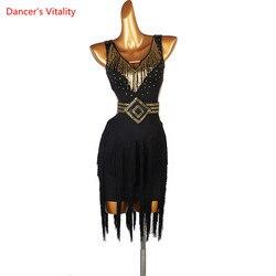 Jupe de danse latine femme adulte nouvelle haute qualité robe noire Performance vêtements enfant Sexy gland Rumba Cha Cha Dancewear