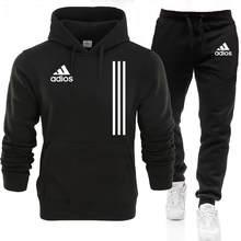 2021 novos conjuntos de inverno outono dos homens adios hoodie + calças duas peças casual treino masculino roupas esportivas ginásio marca suor terno