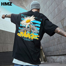 HMZ Men Streetwear Tees Flowers Cotton T Shirts 2020 Summer Mens Hip Hop Harajuku T-shirts Male Korean Vintage Oversized Tops