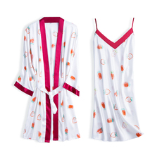 New simulation silks ladies sleepwear new product summer silk sling+robe nightgown two-piece set