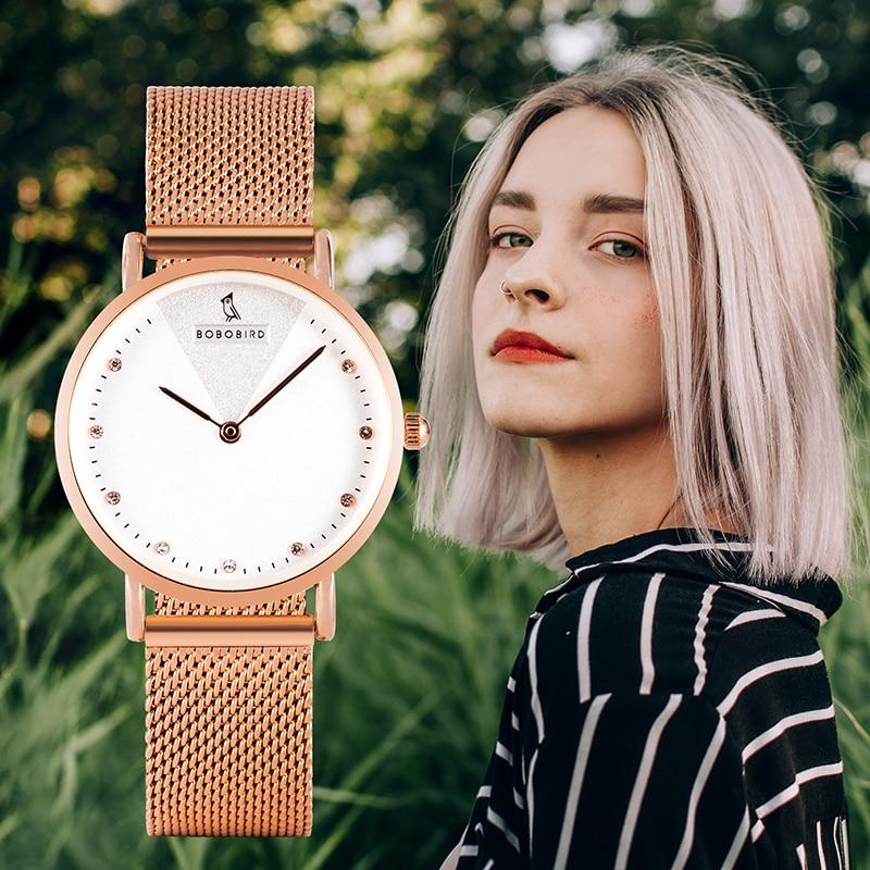 BOBO BIRD часы женские Women Watches Luxury Stainless Steel Quartz Wristwatch Lady Reloj Mujer Birthday Anniversary Gift