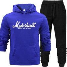 New Brand Spring Autumn Winter Hoodie+Pants Set Tracksuit Men Sportswear Fleece Hoodie Suit Letter Print AMPLIFICATION Blue