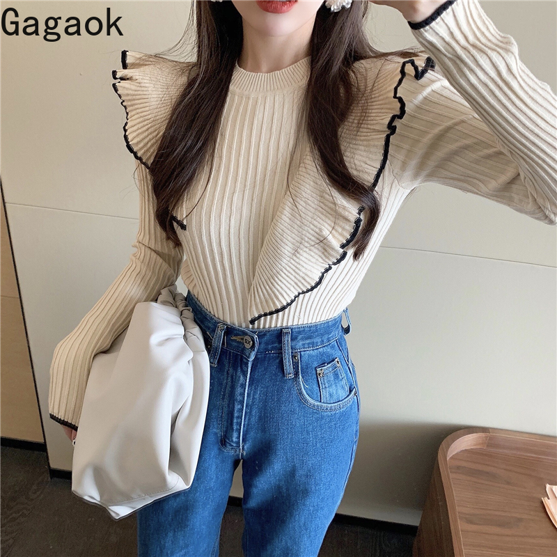 Gagaok Women Knitted Office Lady Sweater Spring Autumn New Solid O-Neck Ruffles Slim Chic Retro Wild Female Fashion Pullover Top