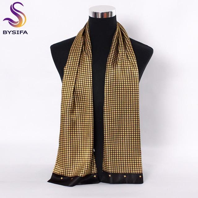 [Bysifa] Mannen Zwarte Goud Zijde Sjaals Winter Mode Accessoires 100% Natuurlijke Zijde Mannelijke Plaid Lange Sjaals Das 160*26Cm