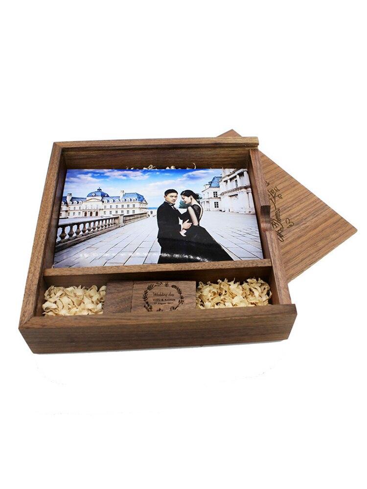 Flash-Drive Photo-Album USB Free-Custom-Logo Maple Usb-3.0 SHANDIAN 16GB Box 64GB Album170--170--35-M