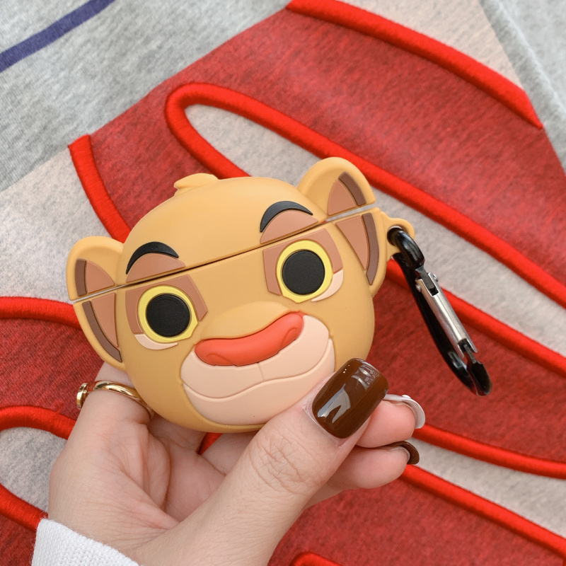 Cartoon Cute Lion King 3D Headphone Protective Shell For Airpods 2 Case For Apple Bluetooth Headset Cover Protect The Box