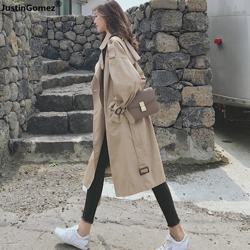 New Fall 2019 Trend Loose Over Knee Long Coat Women Chic Epaulet Design Casual   Trench   Classic Double-breasted Lapel   Trench   Coat
