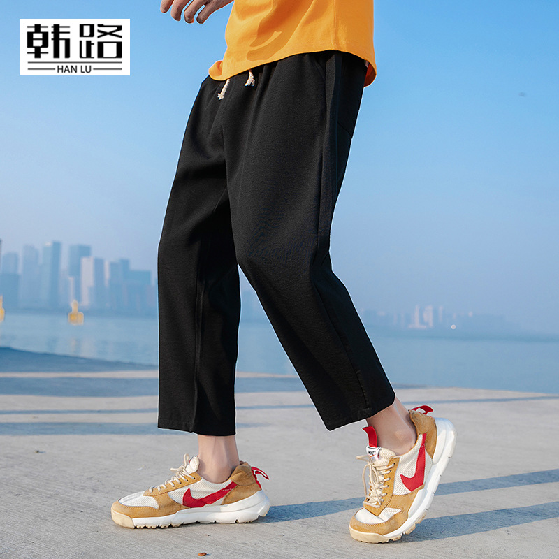 Han Road Men'S Wear 2019 Summer New Style Drawstring MEN'S Casual Pants Solid Color Loose Straight Simple Capri Pants Sub-