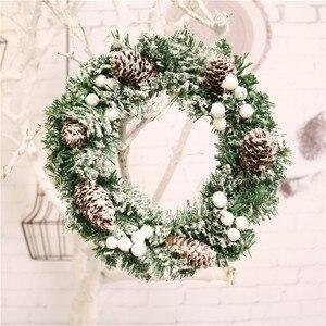 Image 5 - Couronne de noël, 30cm, décorations florales suspendues pour noël, accessoires pour sapin de noël