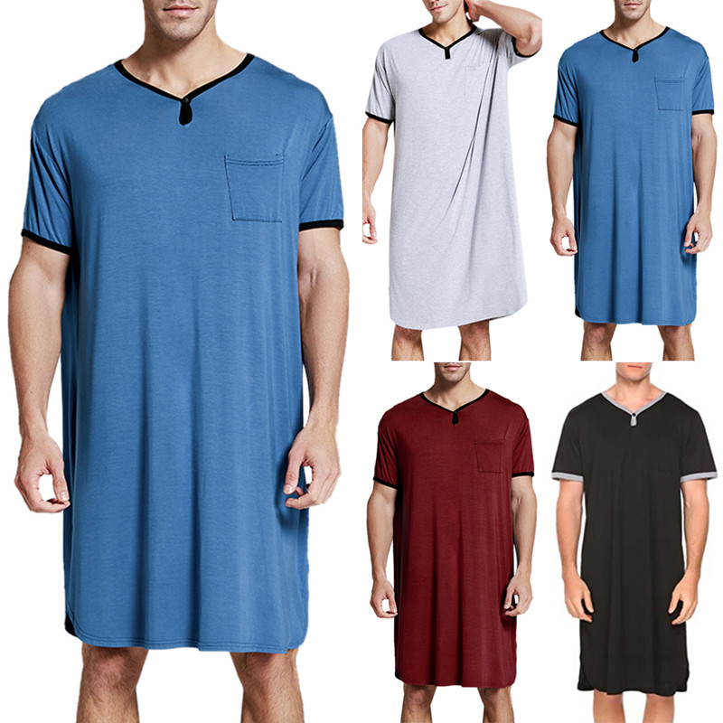 Mens Short Sleeve Homewear Dress Casual Loose Shirts Pullover Nightshirt Tunic Tops Plus Size