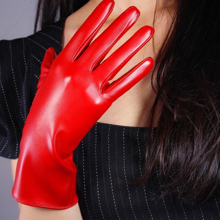 Women's Fashion Sexy Faux Pu Leather Glove Lady's Club Performance Formal Party  Leather Long Red Glove 28cm R1967