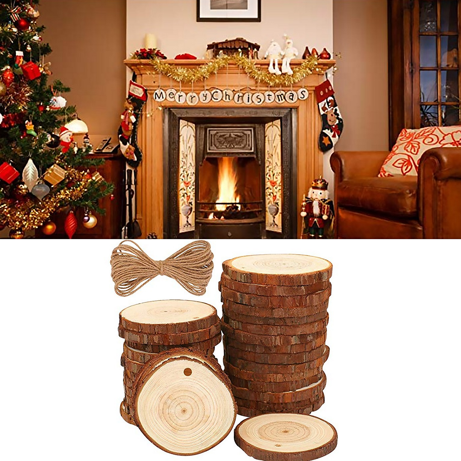 Besegad 30PCS Unfinished Natural Wood Slices With Hole For Christmas Party Ornaments Decorations DIY Hand-painted Crafts