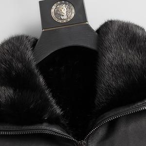 Image 4 - Good Mink Fur Lined Coat Men Winter Warm Casual Leather Sheepskin Jackets Top Quality Real Sheepskin Leather Outwear