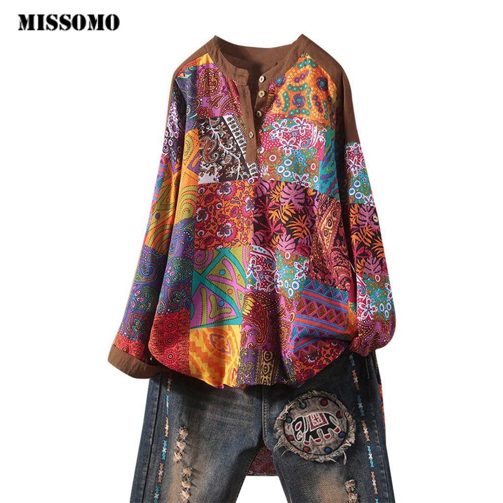 MISSOMO Plus Size 5XL Women Linen Top T Shirt Women Long Sleeve Vintage Loose O-Neck Print Top Casual Spring Autumn Blusas Mujer