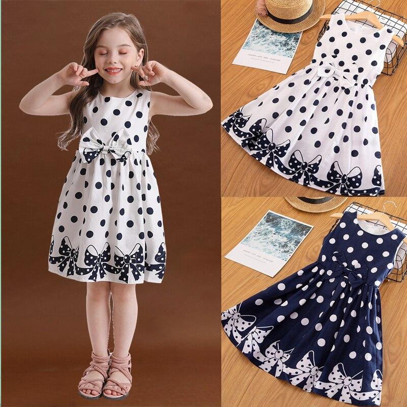 Adolescentes meninas polka-dot vestidos de verão crianças sem mangas sólido bowknot vestido de princesa roupas infantis festa de aniversário vestidos