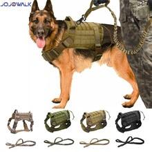 Militar tático cão arreios trela do cão com alça náilon bungee pet cão colete de treinamento para pequenos grandes cães ao ar livre andando