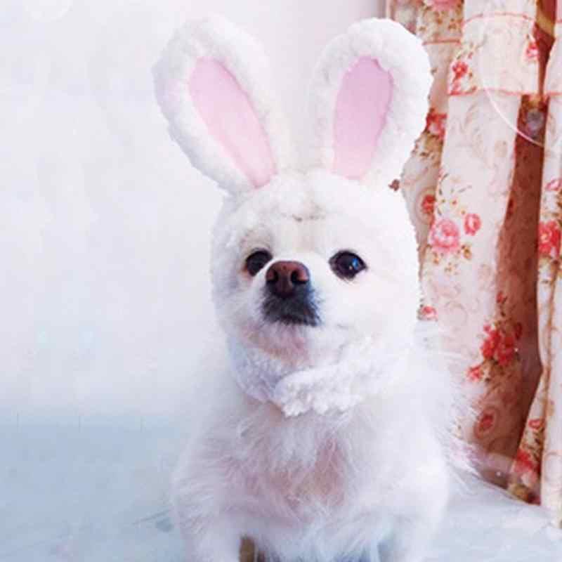 Bonito disfraz de mascota Cosplay Gorro con orejas de conejo gorro para gato Halloween ropa de Navidad vestido de lujo con orejas Otoño Invierno accesorio Paty