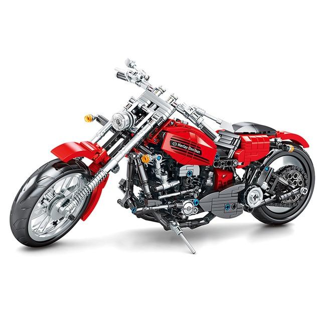 Technic Motorbike Red Motorcycle Model City Motor Car Building Blocks Bricks Creative Construction Toys for Boys Children Gifts