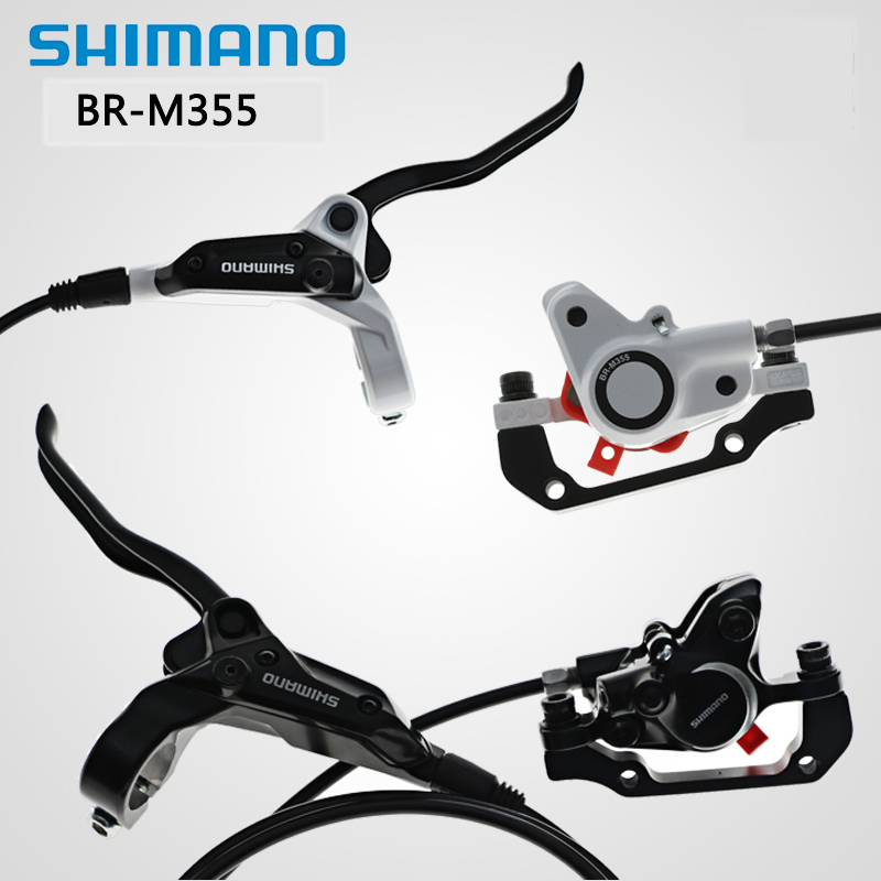 Shimano M355 Hydraulic Disc Brake Set Front /& Rear With Bolts and Brake Pads