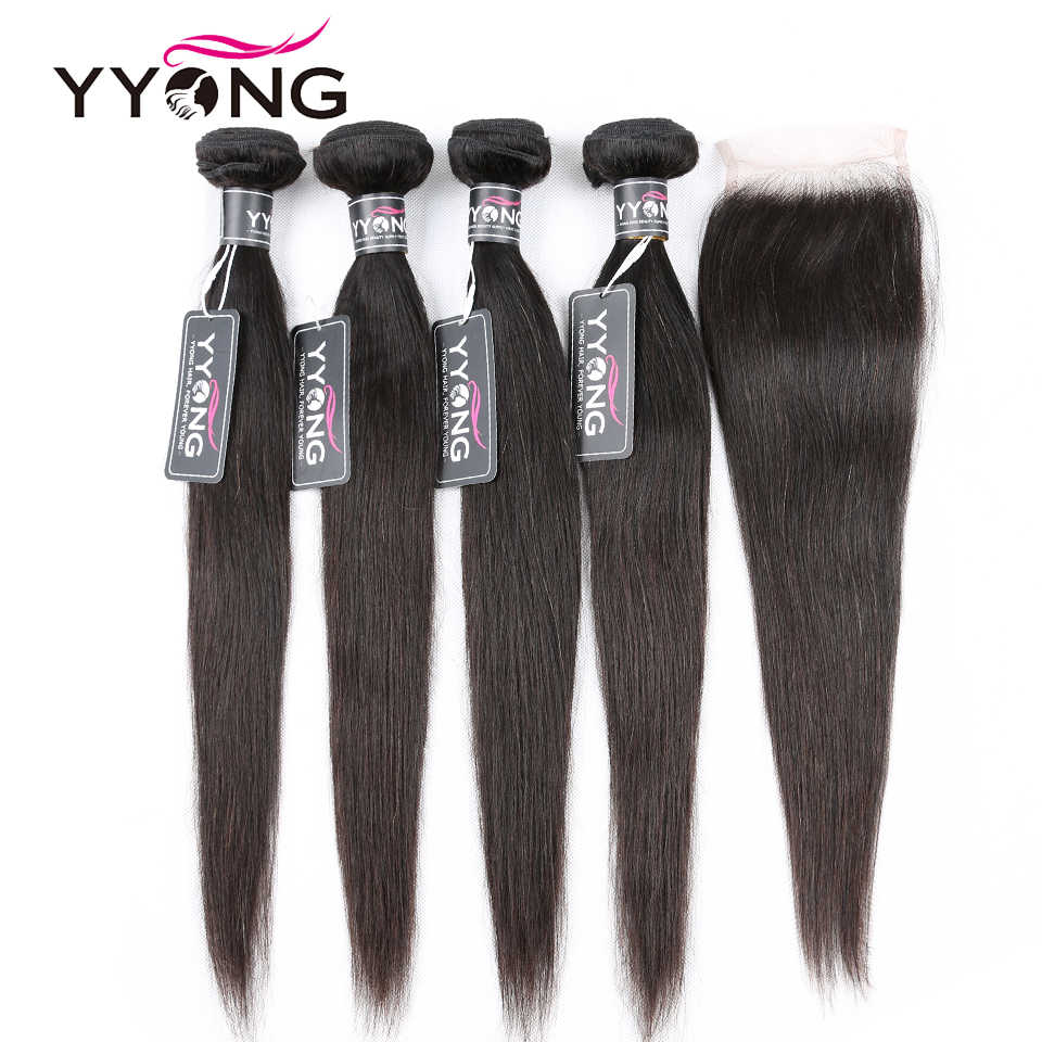 Yyong Straight Hair Bundles With Closure 4 Pieces Peruvian Human Hair Weave With Lace Closure Remy Hair Extensions 5 Pcs/Lot