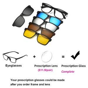 Image 5 - 5 en 1 lunettes de soleil hommes pince magnétique sur lentille lunettes polarisées conduite pêche pour myopie lunettes cadre