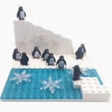 10 Penguins Building Blocks with Baseplate Compatible City Bricks MOC Glacier Snow Land Animals Toys for Kids Montessori Bloques