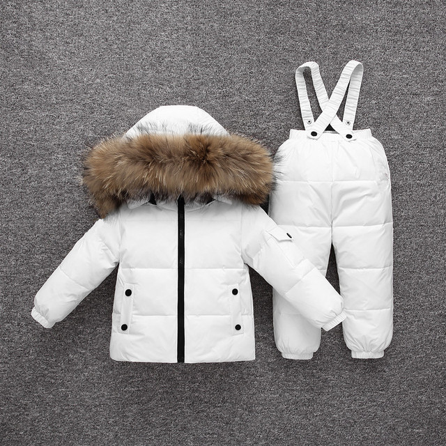 30 Degrees Winter Warm Baby Down Ski Set Baby Girls Thickening Down Snowsuits Baby Boys Natural Fur Jacket+Pant