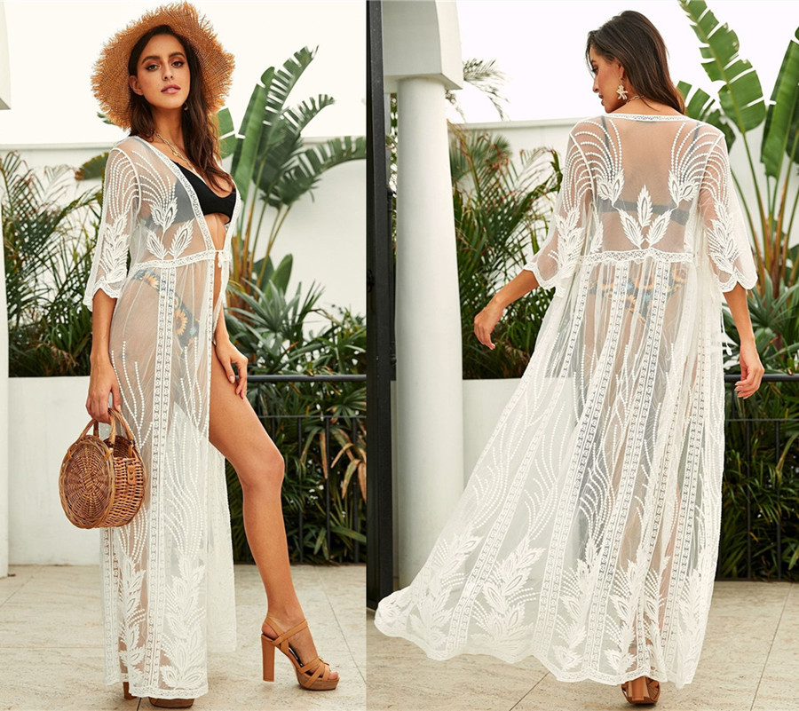 Europe And America Lace Mesh Embroidery Loose-Fit Beach Holiday Cardigan Bikini Outer Blouse Seaside Sun Shirt Women's